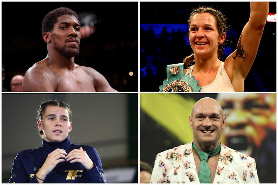 Clockwise from left, four of the UK's world boxing champions: Anthony Joshua, Terri Harper, Tyson Fury, Savannah Marshall. (Getty Images/PA)