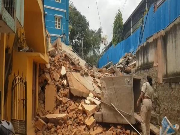 Visual of the collapsed building in Bengaluru. (Photo/ANI)