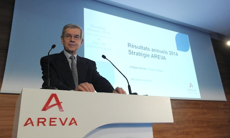 France's nuclear group Areva Chairman of the Board of Directors Philippe Varin presents the group's 2014 annual results on March 4, 2015, at Areva's headquarters in La Defense district, west of Paris (AFP Photo/Eric Piermont)