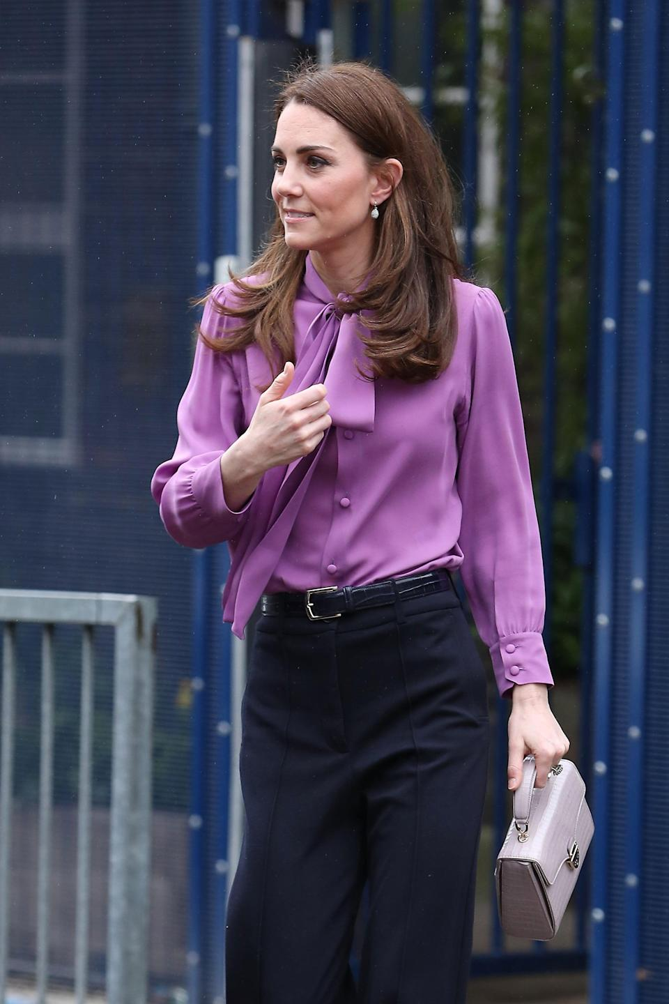 Kate Middleton Wearing the Gucci Blouse in March 2019
