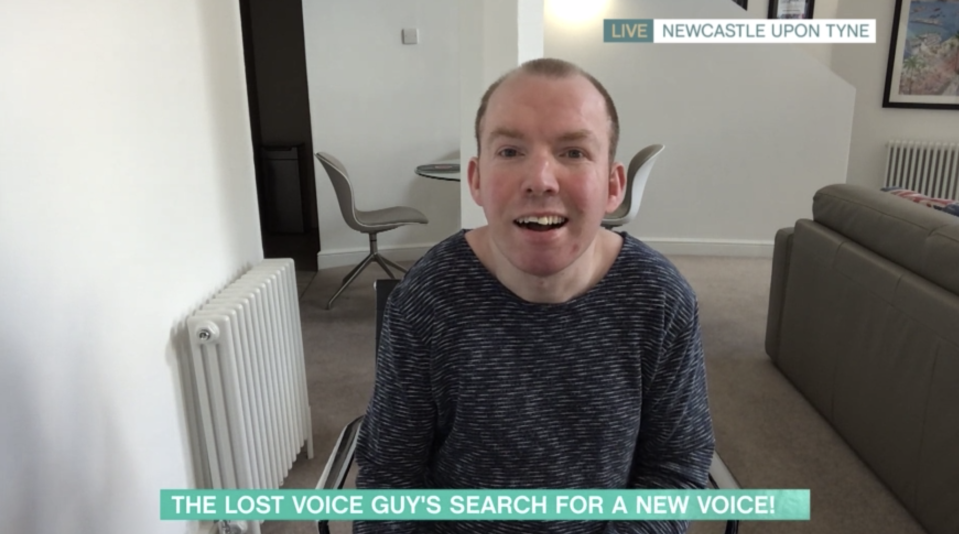 Lost Voice Guy is searching for someone to donate their voice. (ITV)