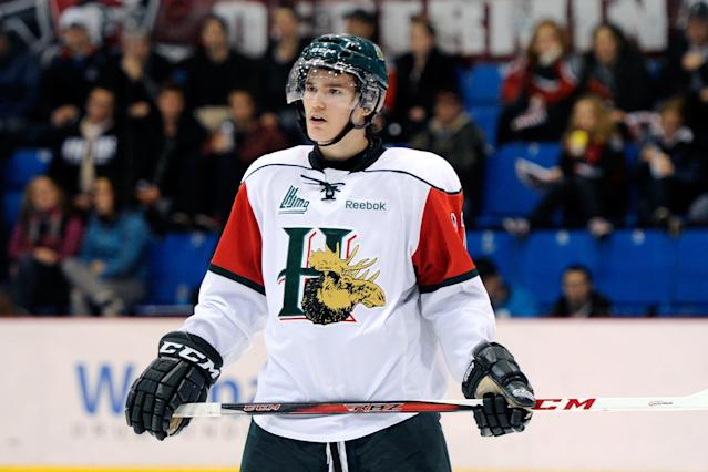 Jonathan Drouin #27 of the Halifax Mooseheads waits for a face-off during the QMJHL game against the Drummondville Voltigeurs at the Centre Marcel Dionne on November 3, 2012 in Drummondville, Quebec, Canada. (Photo by Richard Wolowicz/Getty Images)