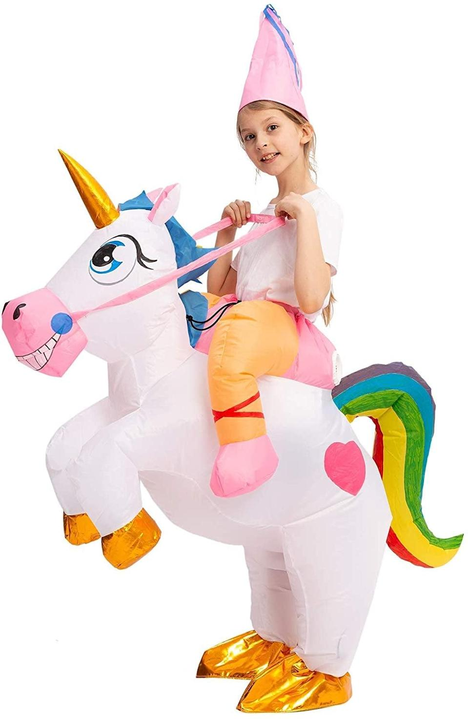 <p>Your child will certainly turn heads in this <span>Spooktacular Creations Inflatable Riding a Unicorn Halloween Costume</span> ($40). We're loving the gold details!</p>