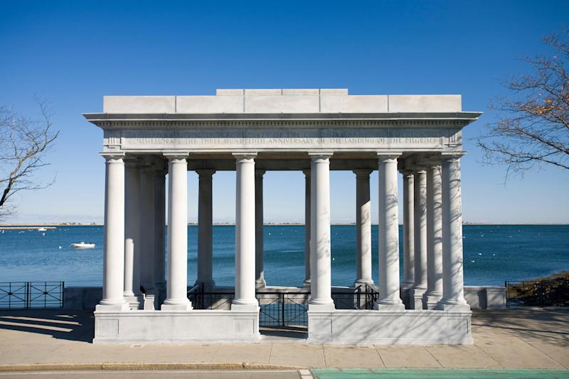Plymouth Rock, the site where the Pilgrims landed, is under this temple - getty