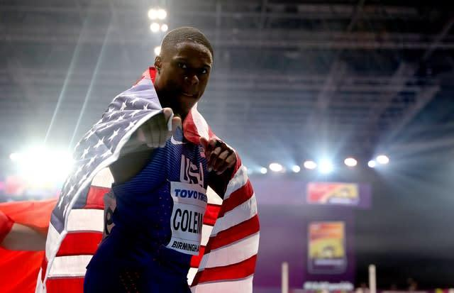 Christian Coleman won gold in the Men's 60m at the 2018 IAAF Indoor World Championships in Birmingham (Simon Cooper/PA)