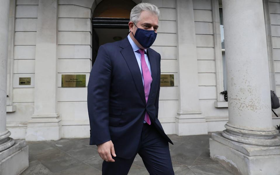 Brandon Lewis, the Northern Ireland Secretary, pictured during a visit to Dublin on Wednesday - Brian Lawless/PA