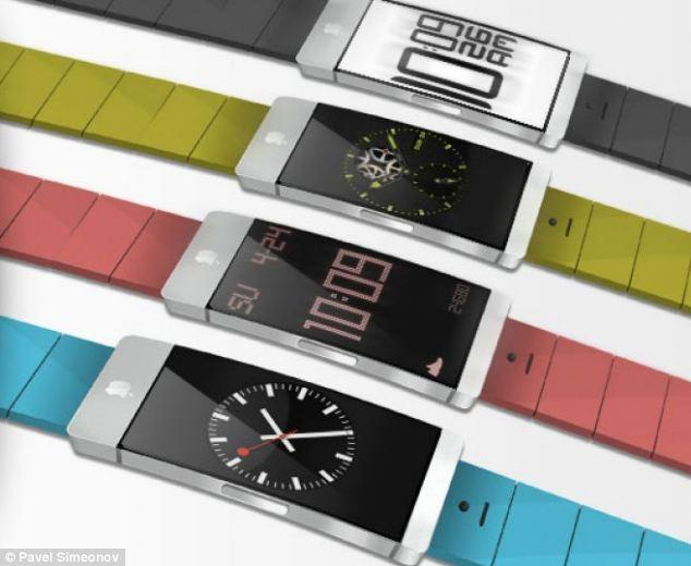 "<p>Pavel Simenov's iWatch design from January 2013 includes interchangeable coloured bands that let the wearerd match the watch to their outfits.</p> <p>For more of Simenov's designs, visit: <a href=""http://justdesignthings.com/iwatch.html"" target=""_blank"">http://justdesignthings.com/iwatch.html</a></p>"