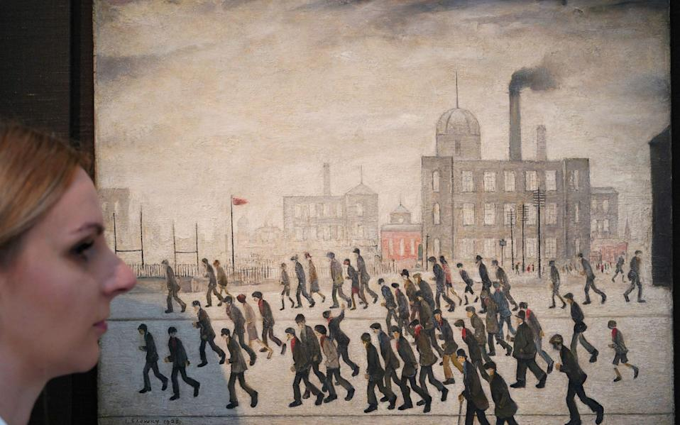 Going to the Match, 1928, by LS Lowry, which is on sale at Sotheby's  - Yui Mok/PA