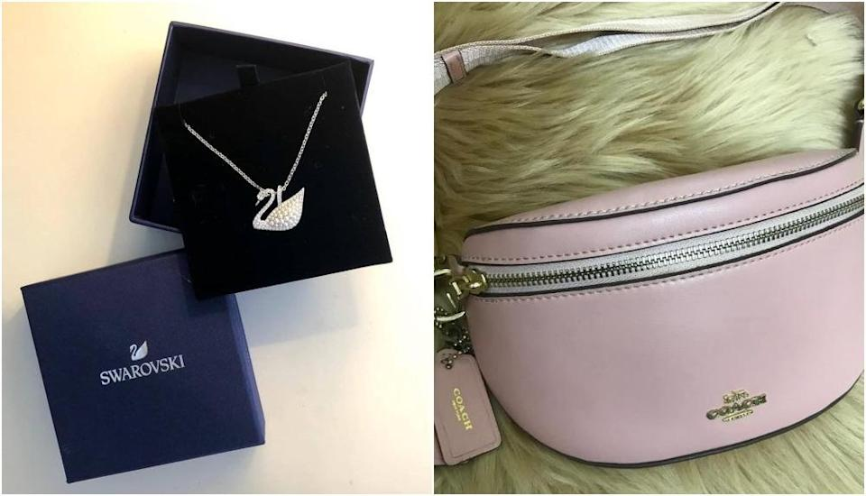 Swarovski necklace, at left, and a Coach bag listed on Kedai Pernah Sayang's Instagram page. Photos: Kedai Pernah Sayang/Instagram