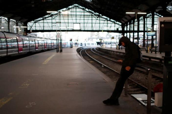 French SNCF workers and the Paris transport network strike in Paris