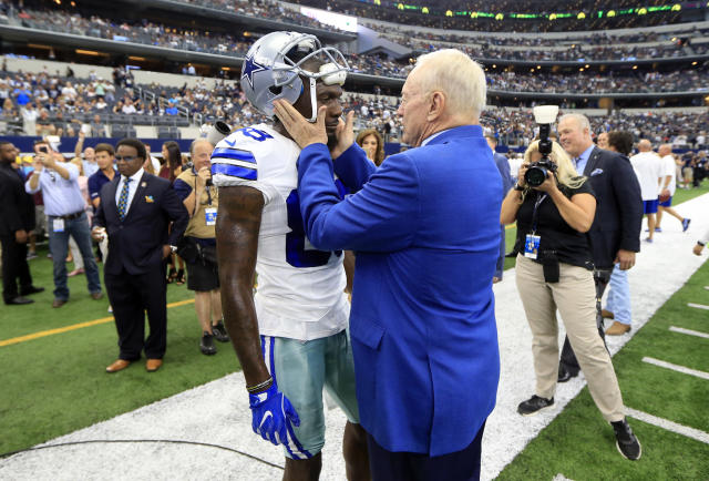 Dez Bryant and Jerry Jones haven't been so friendly to each other lately. (AP Photo)
