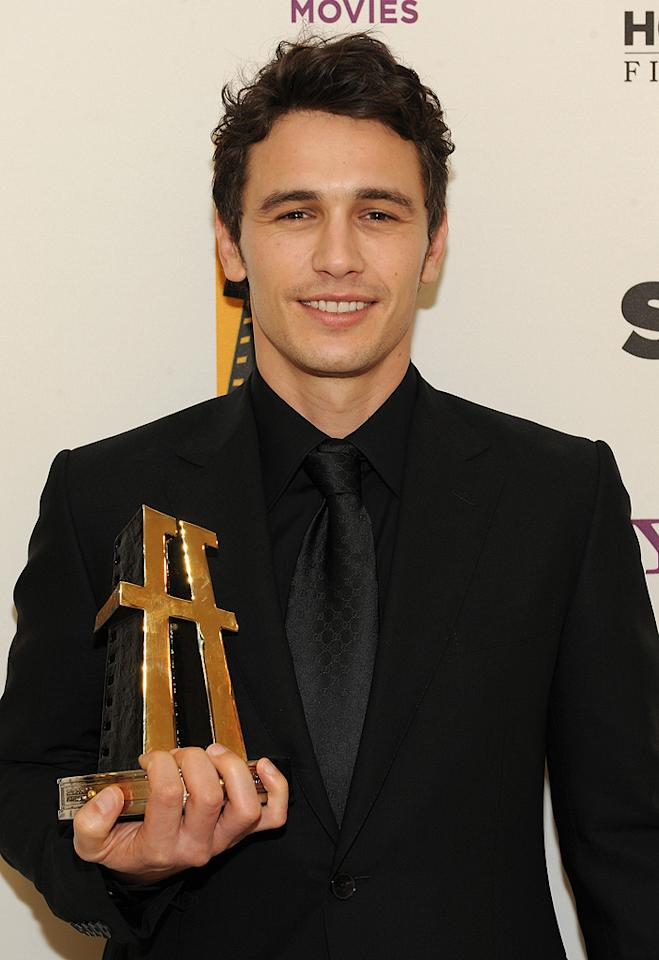 "<a href=""http://movies.yahoo.com/movie/contributor/1800352352"">James Franco</a> backstage at the 12th Annual Hollywood Film Festival Awards Gala in Beverly Hills - 10/27/2008"