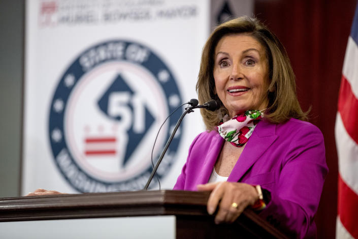 House Speaker Nancy Pelosi of Calif., speaks at a news conference on District of Columbia statehood on Capitol Hill, Tuesday, June 16, 2020, in Washington. House Majority Leader Steny Hoyer of Md. will hold a vote on D.C. statehood on July 26. (AP Photo/Andrew Harnik)