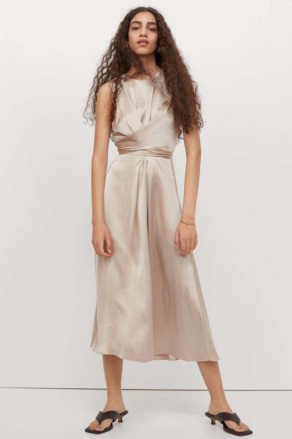 <p>If you're meeting your partner's parents, this <span>Draped Satin Dress</span> ($54, originally $60) might be the way to go. It exudes a sense of self-confidence and looks super polished.</p>
