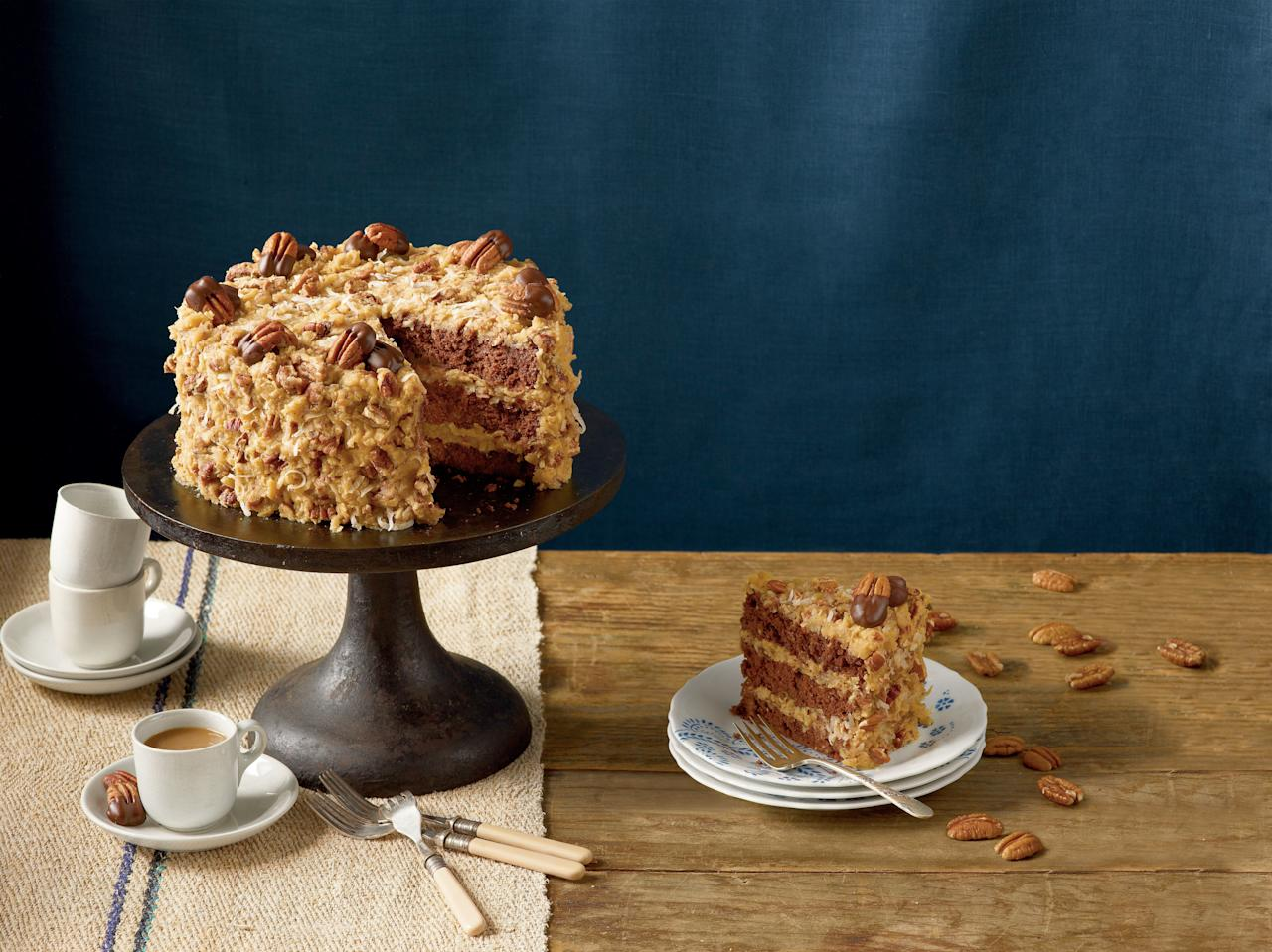 """<p>Contrary to what you may have thought, <a rel=""""nofollow"""" href=""""http://www.myrecipes.com/recipe/mamas-german-chocolate-cake"""">German Chocolate Cake</a> has nothing to do with the country of Germany. In 1957, the Dallas Morning Star published the first known recipe for German's Chocolate Cake (named after Sam German, who created a baking chocolate for Baker's Chocolate Company in the 1850s). The chocolate-coconut confection blew up, as the recipe and photos of the cake spread across the country. Over time, the apostrope-S was dropped off of the name, leading to the famous title as it's known today.</p>"""