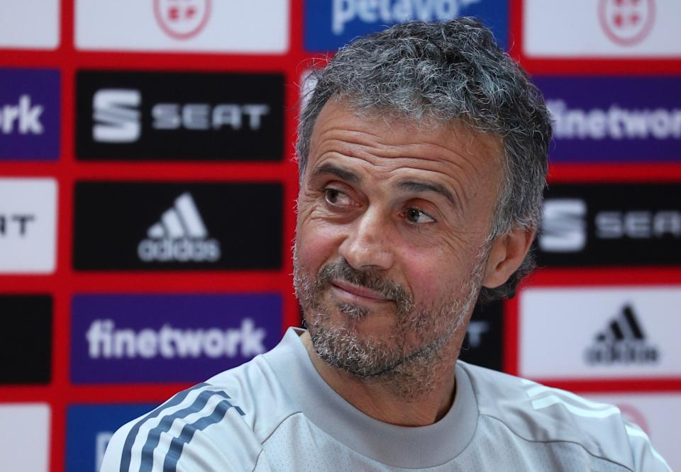 Soccer Football - World Cup Qualifiers Europe - Spain Press Conference, Tbilisi, Georgia - March 27, 2021 Spain coach Luis Enrique during the press conference REUTERS/Irakli Gedenidze