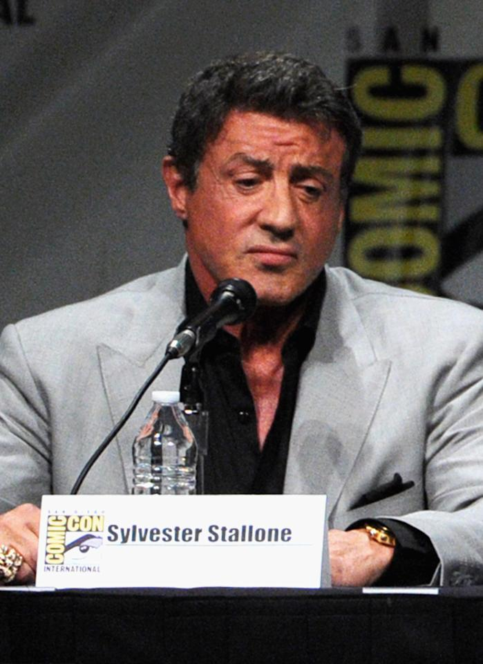 """SAN DIEGO, CA - JULY 12:  Actor Sylvester Stallone speaks at """"The Expendables 2 Real American Heroes"""" Panel during Comic-Con International 2012 at San Diego Convention Center on July 12, 2012 in San Diego, California.  (Photo by Kevin Winter/Getty Images)"""