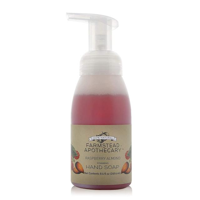 """<p>Not only does Farmstead Apothecary's Foaming Hand Soap smell divine (like a field of perfectly ripe raspberries), but it's made with nourishing ingredients like shea butter, vitamin E oil, safflower oil, and vegetable emulsifying wax, so post-wash, hands will smell <em>and</em> feel good.</p> <p><strong>$10</strong> (<a href=""""https://www.farmsteadapothecary.com/store/p8/Raspberry_Almond_Foaming_Hand_Soap.html"""" rel=""""nofollow noopener"""" target=""""_blank"""" data-ylk=""""slk:Shop Now"""" class=""""link rapid-noclick-resp"""">Shop Now</a>)</p>"""