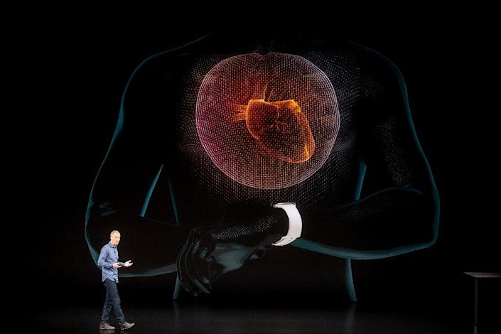 Apple's Jeff Williams discusses the Apple Watch Series 4, capable of performing an electrocardiogram; it's among new smart devices entering the marketplace (AFP Photo/NOAH BERGER)
