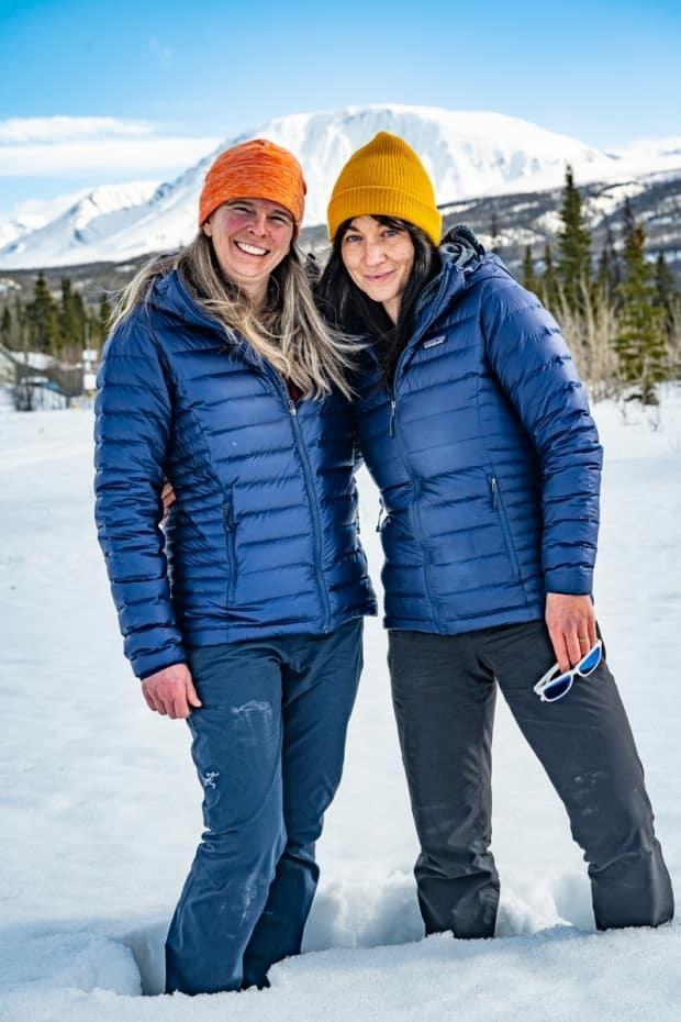 Pascale Marceau, left, and Eva Capozzola are aiming to climb Mount Lucania in Yukon this weekend, weather permitting. (Michael Schmidt - image credit)
