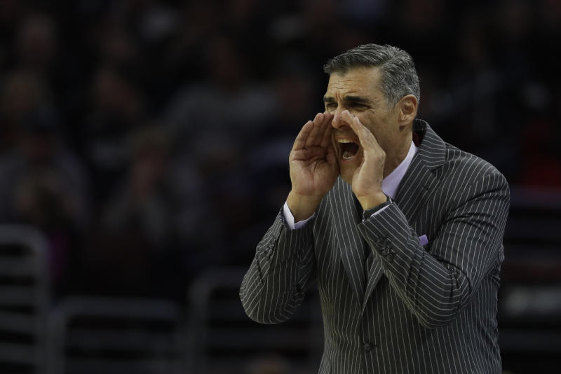 FILE - In this Nov. 10, 2017, file photo, Villanova's Jay Wright shouts to his team during an NCAA college basketball game against Columbia, in Philadelphia. Wright's fifth-ranked Wildcats open play in the Battle 4 Atlantis tournament Wednesday against Western Kentucky in the Bahamas.(AP Photo/Matt Slocum, File)