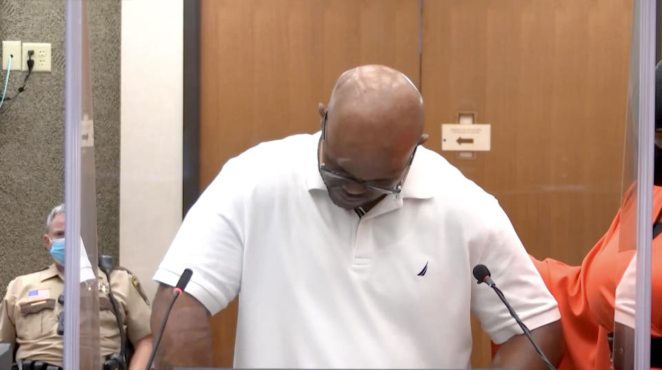 Terrence Floyd, brother of George Floyd, delivers his victim statement at Derek Chauvin's sentencing hearing. (Court TV via Reuters)