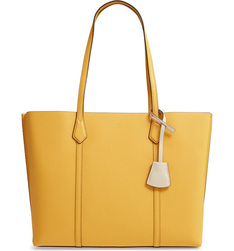 Perry Leather Tote in yellow.