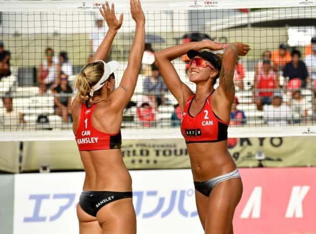 Canadian duo Heather Bansley, left, and Brandie Wilkerson, right, won both of their matches, including a win against fellow Canadians Sarah Pavan and Melissa Humana-Paredes, on Thursday at the Ostrava Beach Open. (Toshifumi Kitamura/AFP via Getty Images/File - image credit)