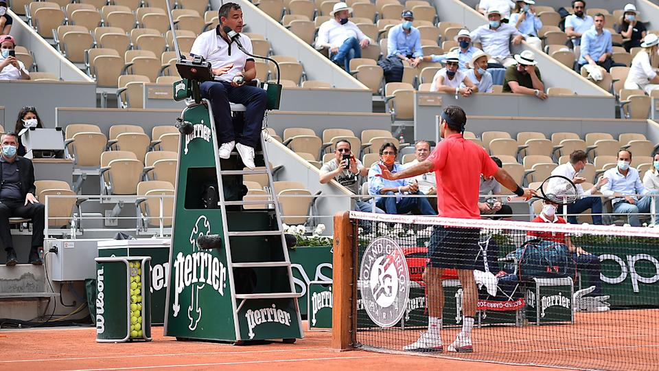 Roger Federer, pictured here arguing with the chair umpire during his clash with Marin Cilic.