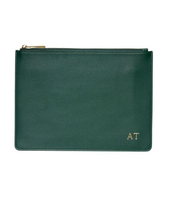 """Green Smooth Leather Pouch, $89.95; at <a href=""""http://thedailyedited.com/shop/green-smooth-leather-pouch/"""">The Daily Edited</a>"""