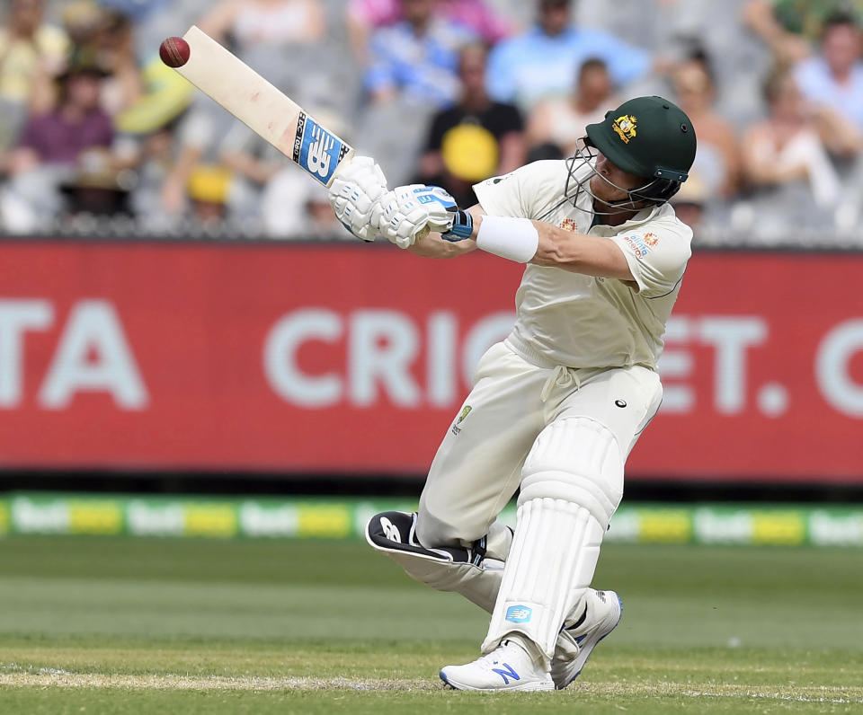 FILE - In this Dec. 28, 2019, file photo, Australia's Steve Smith bats against New Zealand during their cricket test match in Melbourne, Australia. Smith said Tuesday, Nov. 24, 2020, he spent extra time in the nets in quarantine and reckons it has helped him rediscover his peak technique in time to face India. (AP Photo/Andy Brownbill, File)