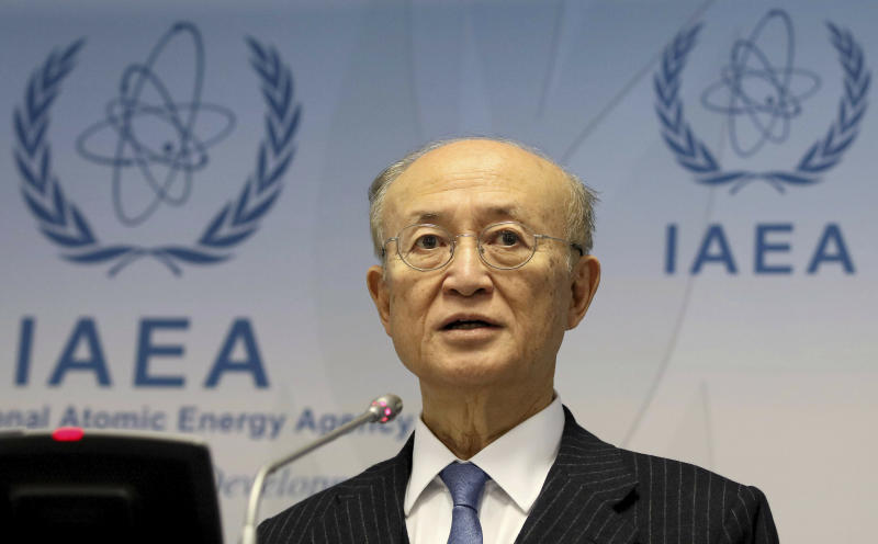 FILE - In this Nov. 22, 2018, file photo, International Atomic Energy Agency (IAEA) Director General Yukiya Amano of Japan addresses the media during a news conference after a meeting of the IAEA board of governors at the International Center in Vienna, Austria. The IAEA said Monday, July 22, 2019, it is announcing with regret the death of Amano. The Secretariat did not say how Amano, who was 72, died.  (AP Photo/Ronald Zak)