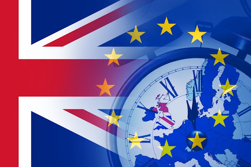 Brexit deadline concept. With an alarm clock at almost 12 o'clock. With the flags of the UK and the E.U over layered over the top. Photo: Getty