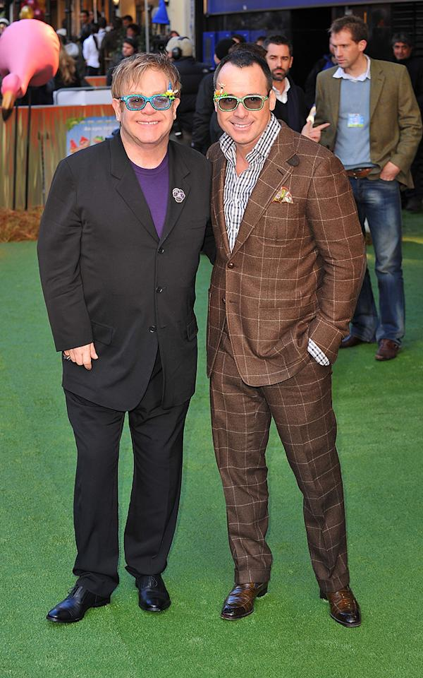 """<a href=""""http://movies.yahoo.com/movie/contributor/1808896167"""">Elton John</a> and <a href=""""http://movies.yahoo.com/movie/contributor/1809119396"""">David Furnish</a> attend the London premiere of <a href=""""http://movies.yahoo.com/movie/1810080528/info"""">Gnomeo & Juliet</a> on January 30, 2011."""