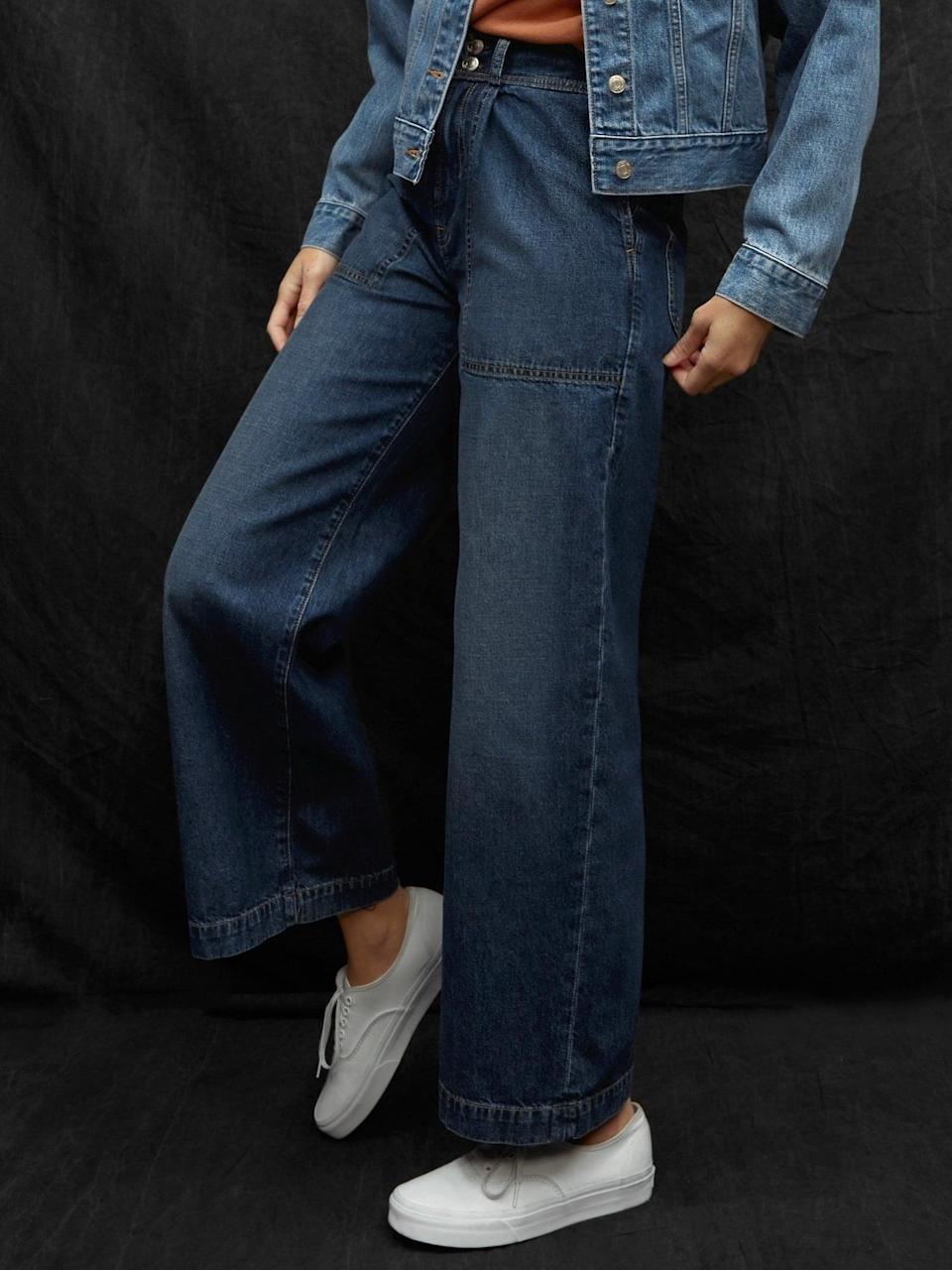 <p>These <span>Gap Workforce Collection Sky High Rise Wide-Leg Jeans</span> ($90) have no stretch and are so classic and cool.</p>