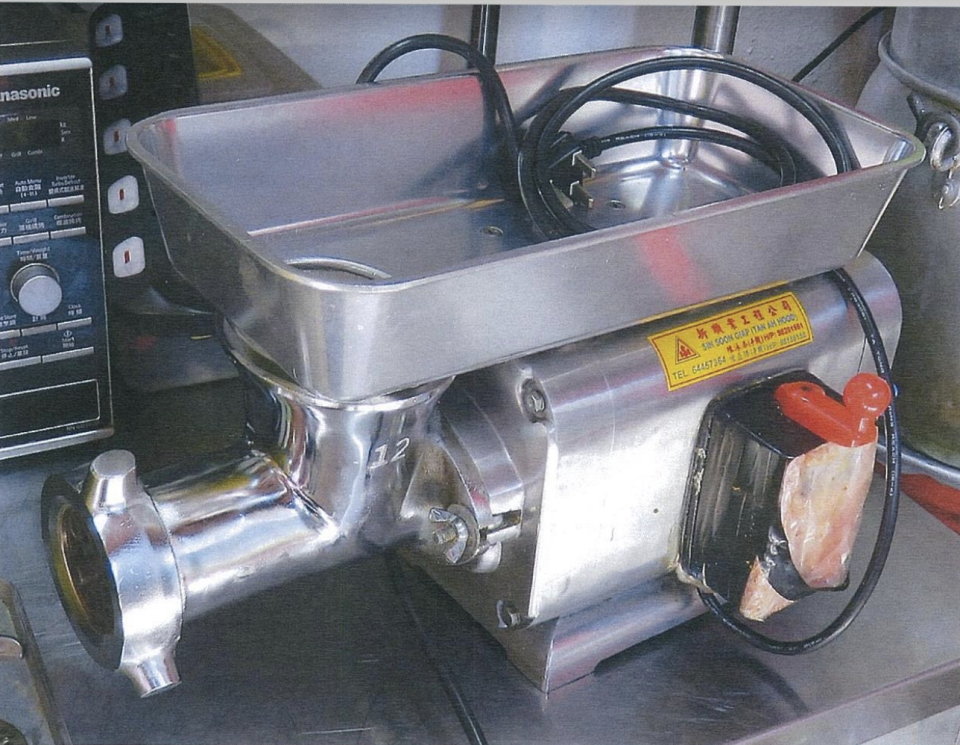 Photo of the electric meat grinder which was used. (PHOTO: Ministry of Manpower)
