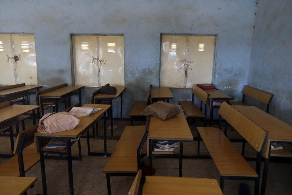 School bags of the kidnapped student from Government Science Secondary School are seen inside their class room in Kankara, Nigeria, Wednesday, Dec. 16, 2020. Rebels from the Boko Haram extremist group claimed responsibility Tuesday for abducting hundreds of boys from a school in Nigeria's northern Katsina State last week in one of the largest such attacks in years, raising fears of a growing wave of violence in the region. (AP Photo/Sunday Alamba)