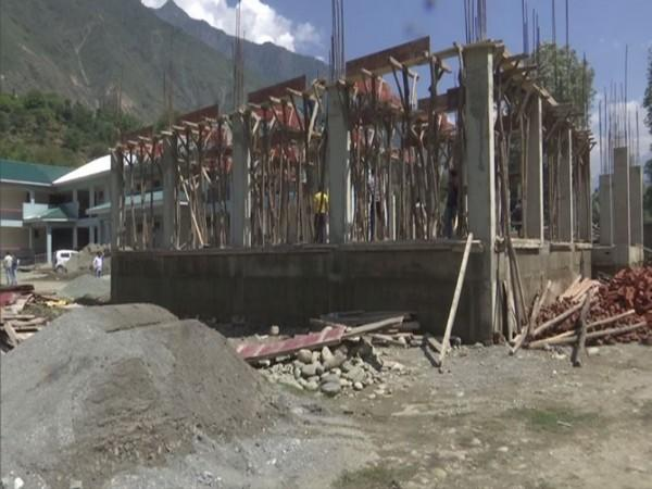 New block under construction at Government Degree College in Kangan in Ganderbal district in Jammu and Kashmir (Photo/ANI)