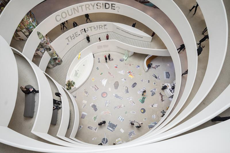Looking down through the rotunda of Countryside, the Future.