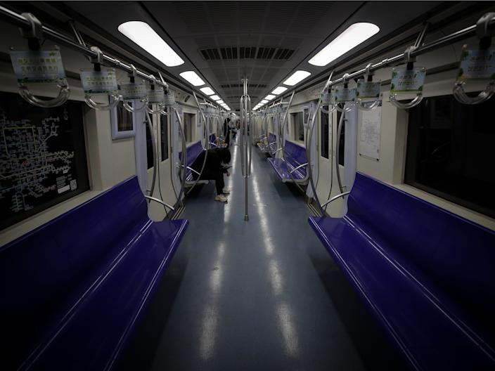 An almost empty subway in Beijing, China.