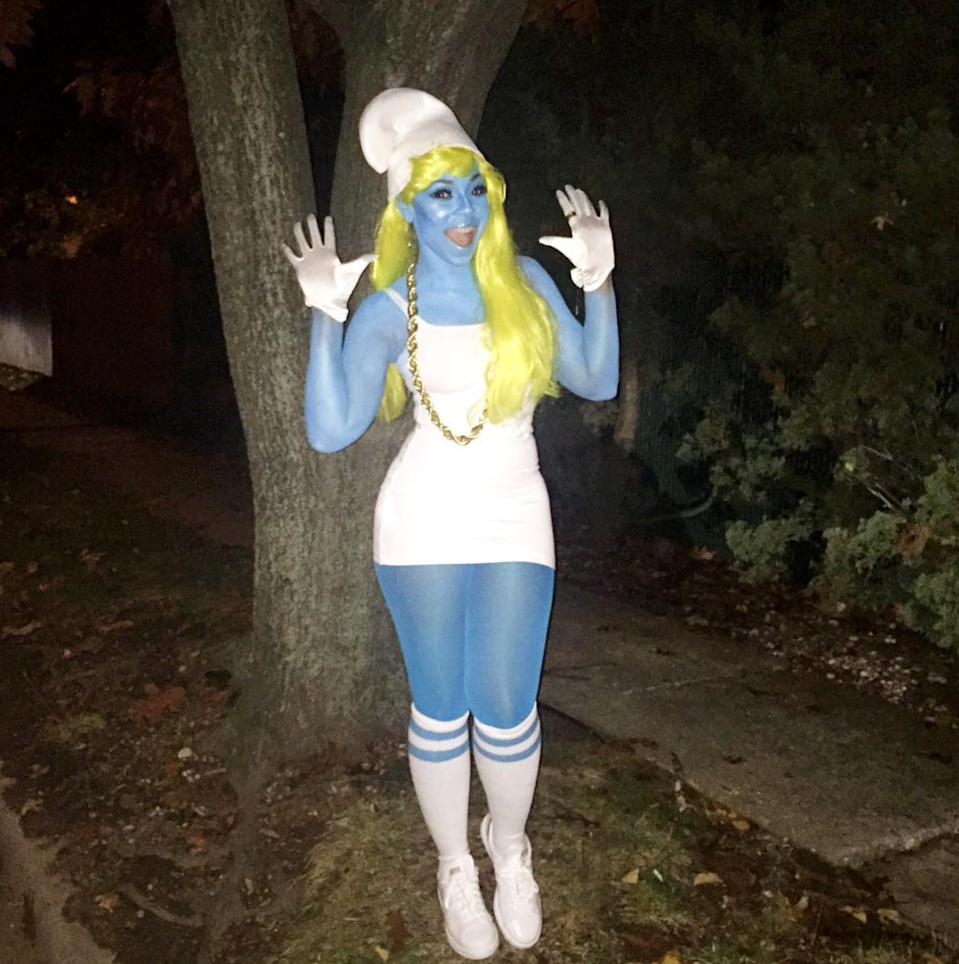 Ashanti went baby blue from head-to-toe to bring her Smurfette look to life. Warning: This would require major body-paint dedication, but the rest of the costume is a simple white minidress, gloves, and hat.