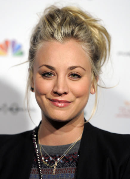 "FILE - This Dec. 5, 2012 file photo shows actress Kaley Cuoco at the Raising the Bar to End Parkinsons fundraising event at Public School 310 in Culver City, Calif. Cuoco, a star of CBS' ""The Big Bang Theory,"" will join William Shatner a new commercial for Priceline, the online travel services company. (Photo by Chris Pizzello/Invision/AP, file)"