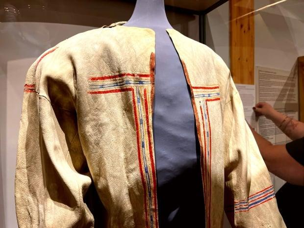 The Innu coat has traditional paintings on it, meant to give the wearer special abilities when hunting caribou. After the hunt, they were hung up outside the tent as a thank you to to the