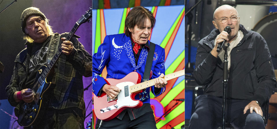 """In this combination photo, Neil Young performs at the BottleRock Napa Valley Music Festival in Napa, Calif. on May 25, 2019, from left, John Fogerty performs at the New Orleans Jazz and Heritage Festival in New Orleans on May 5, 2019 and Phil Collins performs during his """"Not Dead Yet Tour"""" in Philadelphia on Oct. 8, 2018. Young, Fogerty and Collins are among several musicians who are objecting to their songs being used at President Donald Trump's campaign rallies. (AP Photo)"""