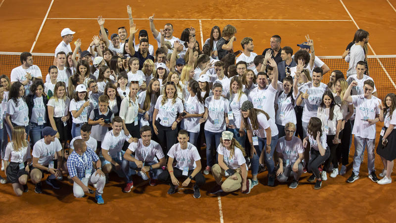 Novak Djokovic, pictured here with tournament volunteers at the end of the Belgrade leg of the Adria Tour.