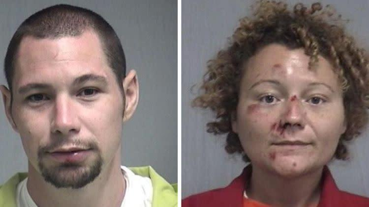 Aaron Thomas, 31, and Megan Mondanaro, 35, allegedly picked an unusual locale to try to get close and personal. (Photo: Nassau County Sheriff's Office)