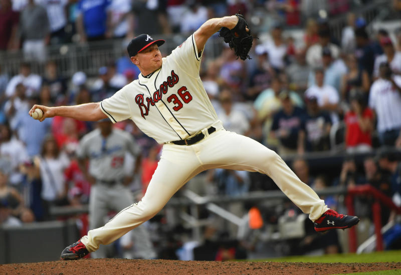 Atlanta Braves' Mark Melancon pitches against the Los Angeles Dodgers during the ninth inning of a baseball game Sunday, Aug. 18, 2019, in Atlanta. The Braves won 5-3. (AP Photo/John Amis)