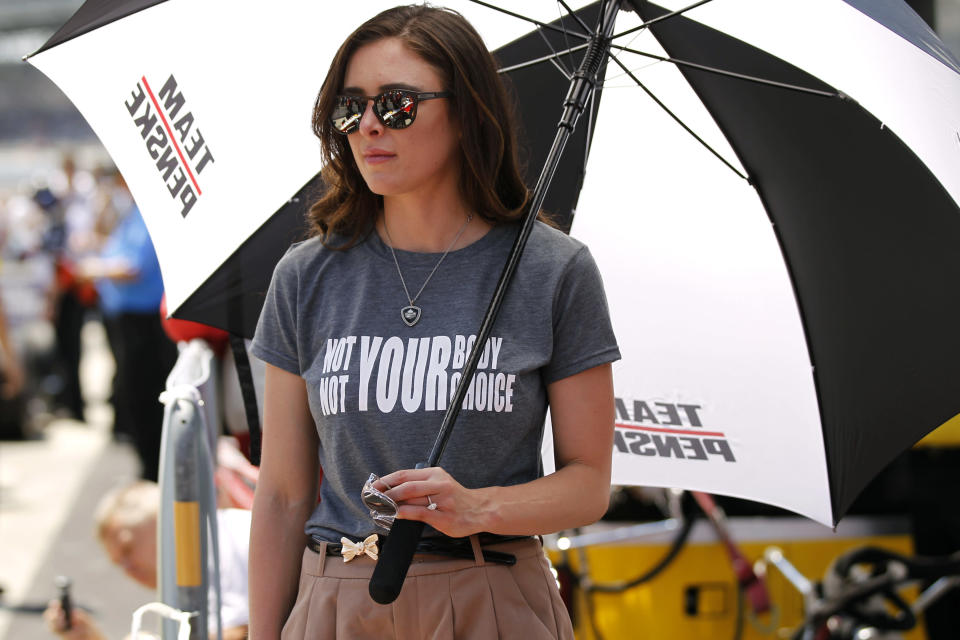 IndyCar driver Josef Newgarden of Team Penske fiancé Ashley Welch wears a Not Your Body Not Your Choice shirt during the 103rd Indianapolis 500 Qualifications on May 18, 2019 at the Indianapolis Motor Speedway in Indianapolis, IN. (Photo by Jeffrey Brown/Icon Sportswire via Getty Images)