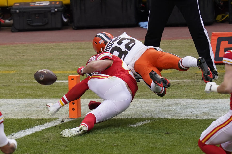Rashard Higgins' fumble out of the end zone during the Browns-Chiefs divisional playoff game on Sunday drew a lot of outrage over the touchback rule. (AP)