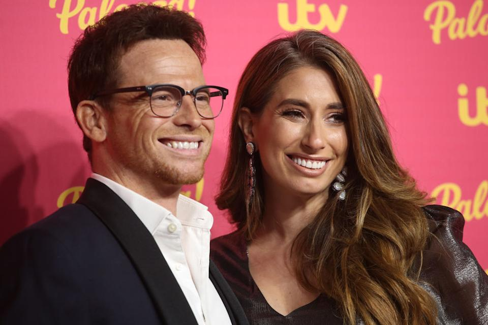 Stacey Solomon has revealed pregnancy had an impact on her teeth, pictured here with partner Joe Swash in November 2019. (Getty Images)